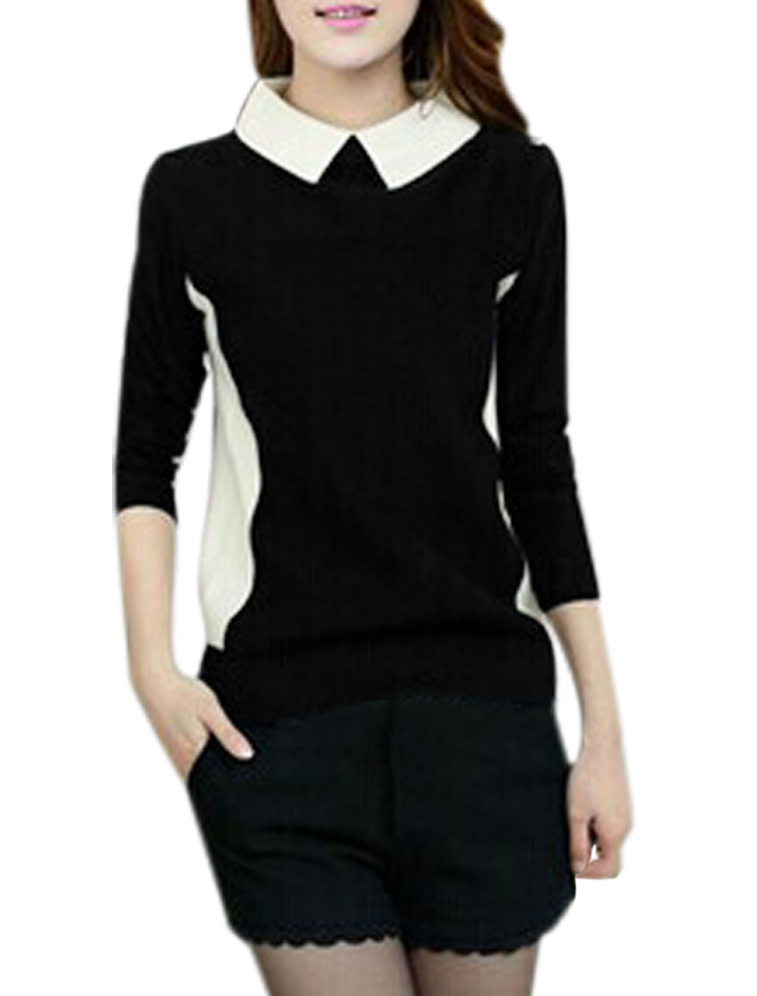 Lady Point Collar One Button Closure Back Color Block Knit Shirt Black M