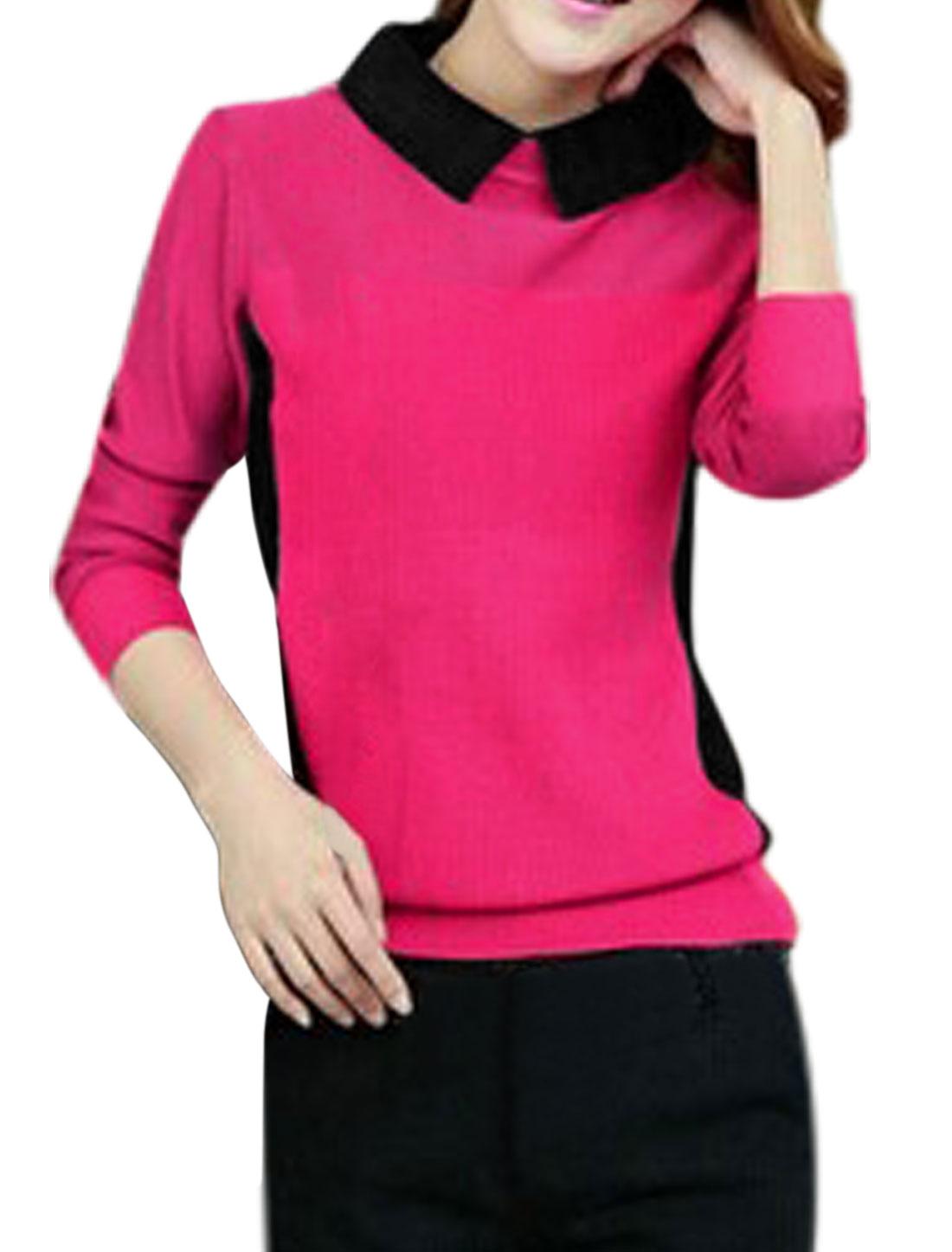 Women Point Collar Contrast Color Long Sleeve Knit Shirt Fuchsia S