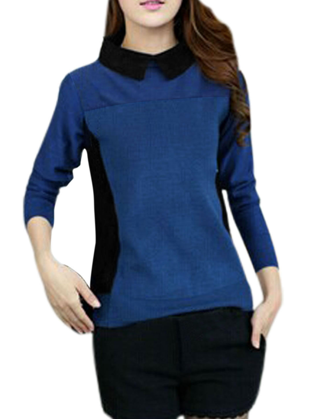 Women Slipover One Button Closure Back Leisure Knit Shirt Royal Blue S