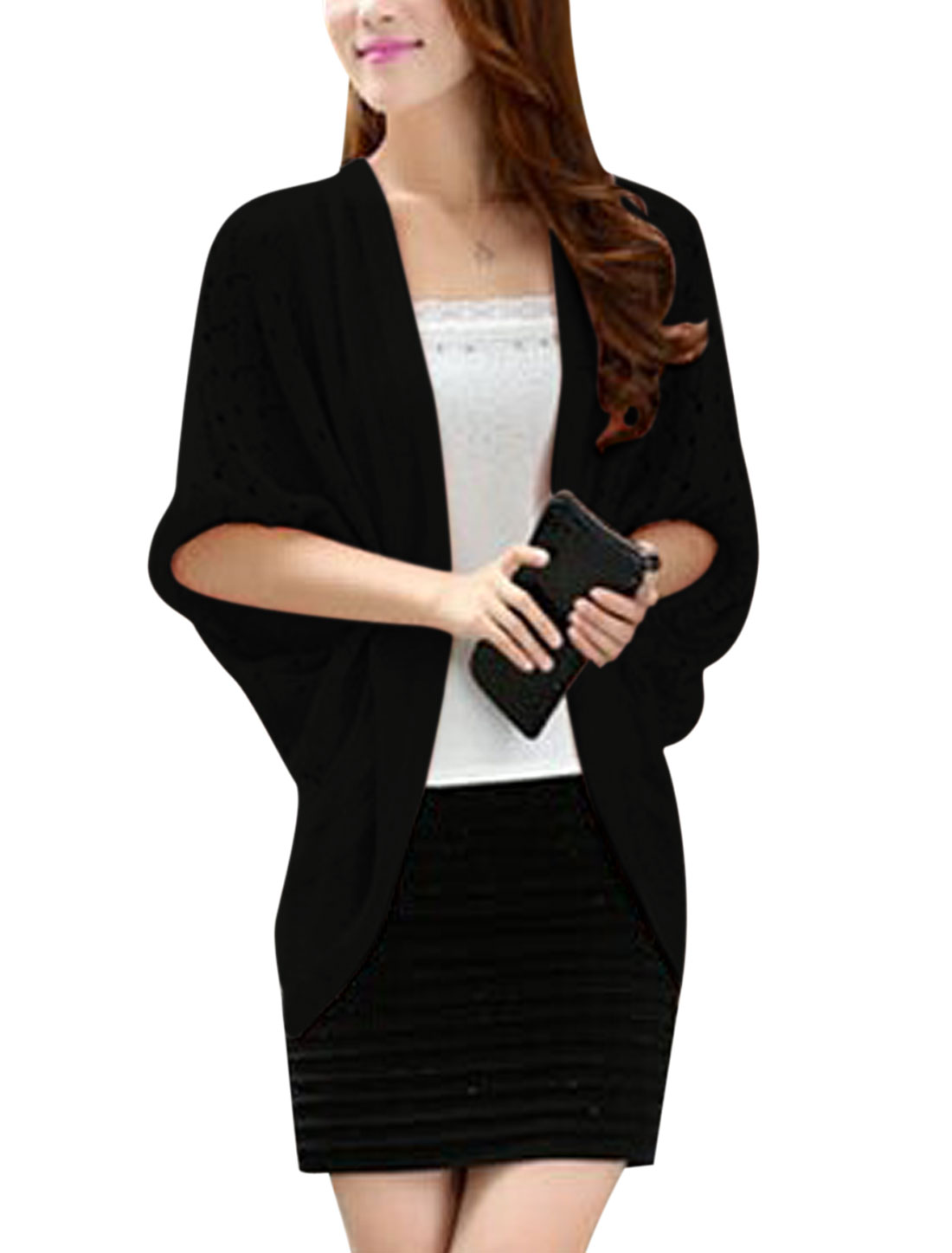Lady Batwing Sleeve Hollow Out Design Casual Cardigan Black S