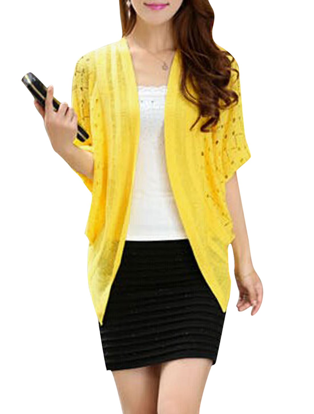 Lady Batwing Sleeve Lace Patchwork Back Leisure Cardigan Yellow S