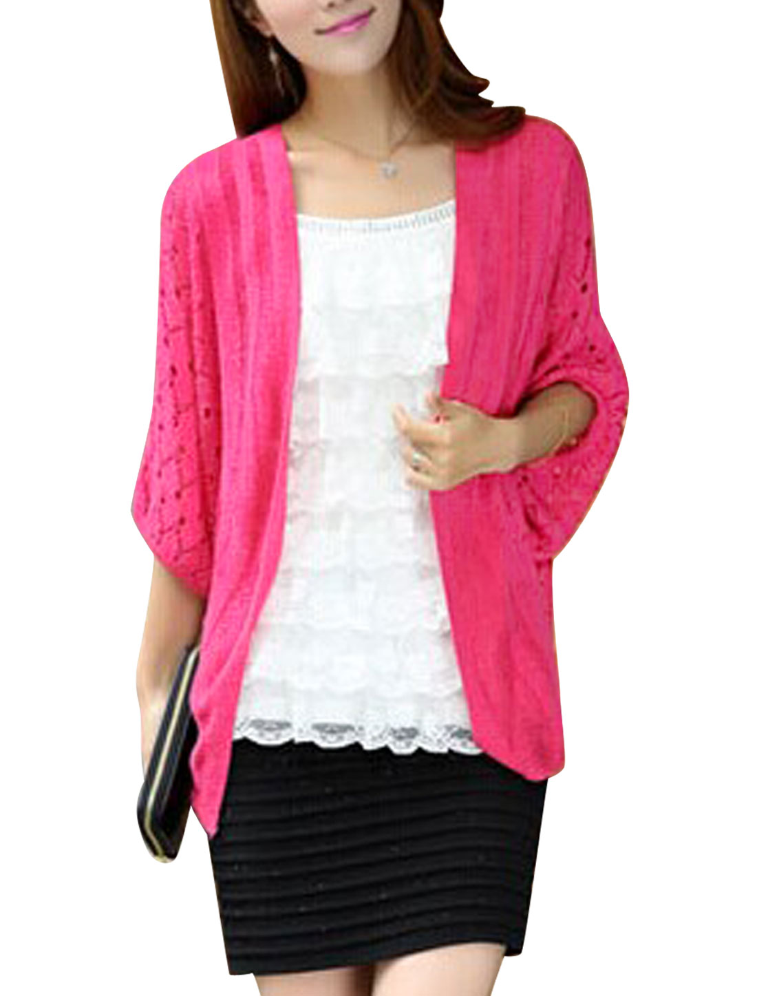 Lady Hollow Out Design Fashionable Casual Cardigan Fuchsia S
