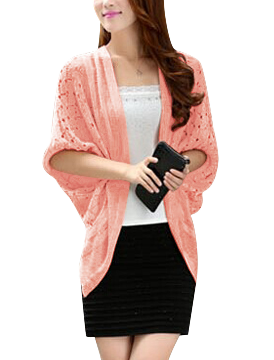 Cozy Fit Casual Batwing Sleeve Asymmetric Hem Cardigan for Lady Pink S