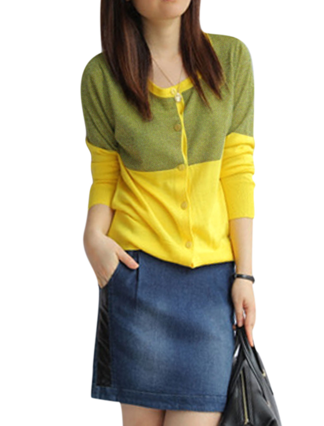 Ladies Yellow Round Neck Long Sleeves Front Single Breasted Casual Cardigan S