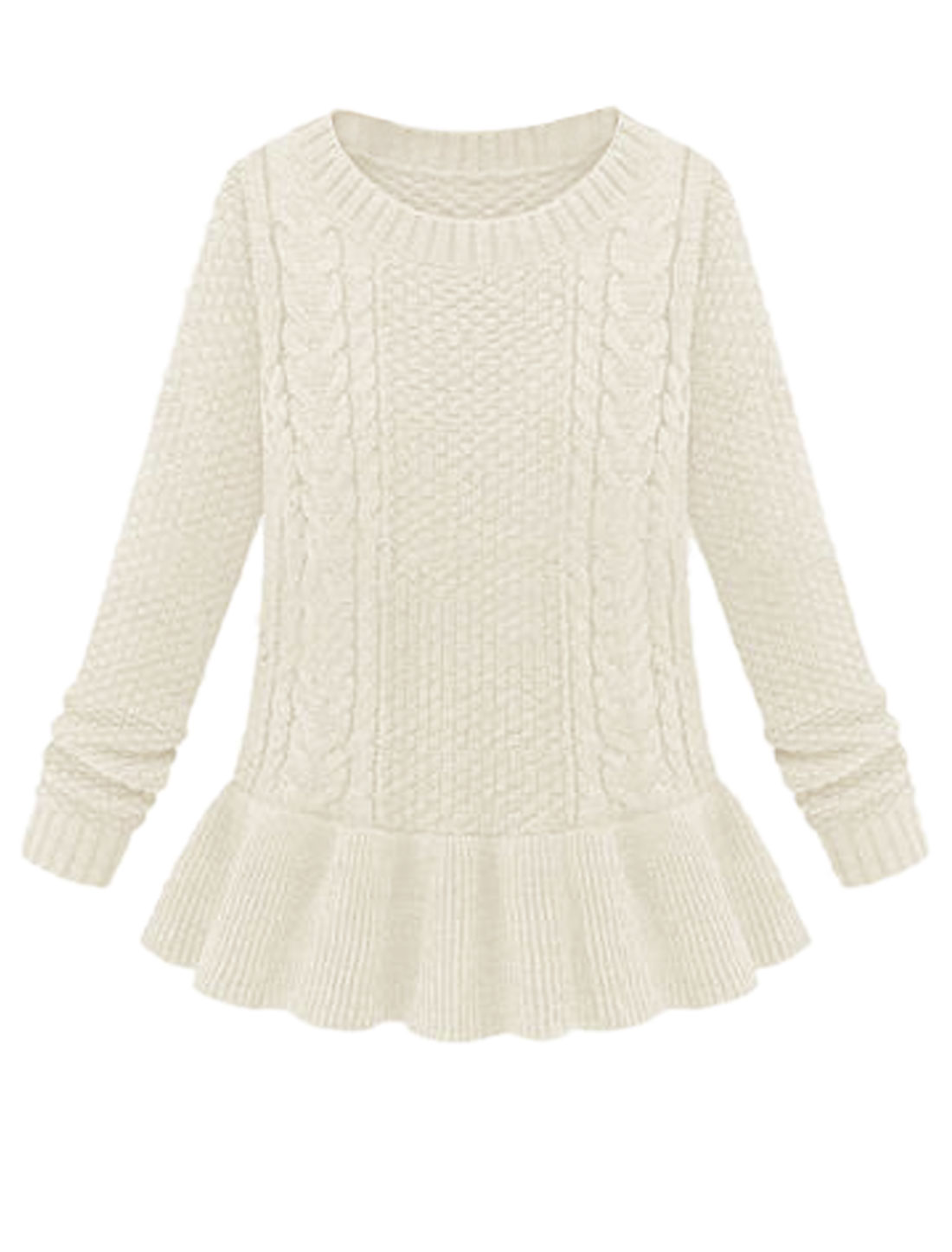 Lady Round Neck Ribbed Cuff w Hem Casual Peplum Sweater Beige M