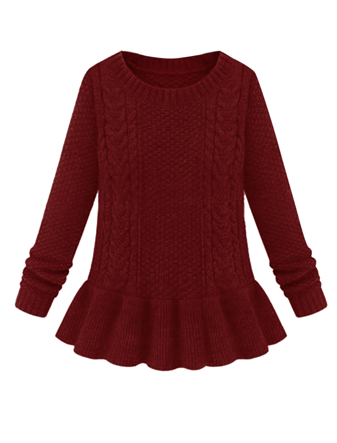 Lady Pullover Round Neck Fashionable Peplum Sweater Burgundy M