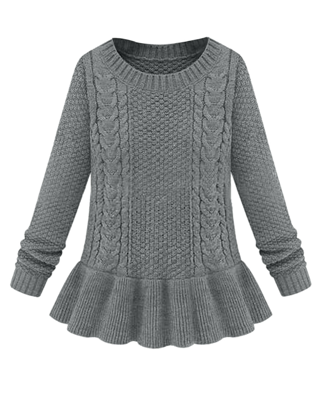 Cozy Fit Ribbed Cuff w Hem Slipover Peplum Sweater for Lady Dark Gray M