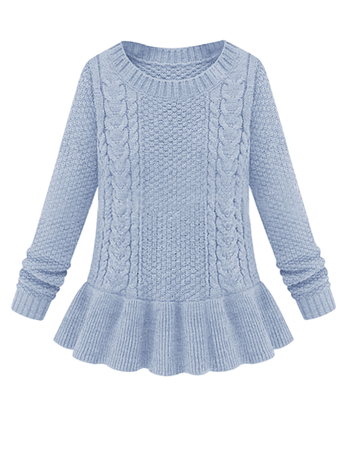 New Style Slipover Round Neck Leisure Peplum Sweater Light Blue M