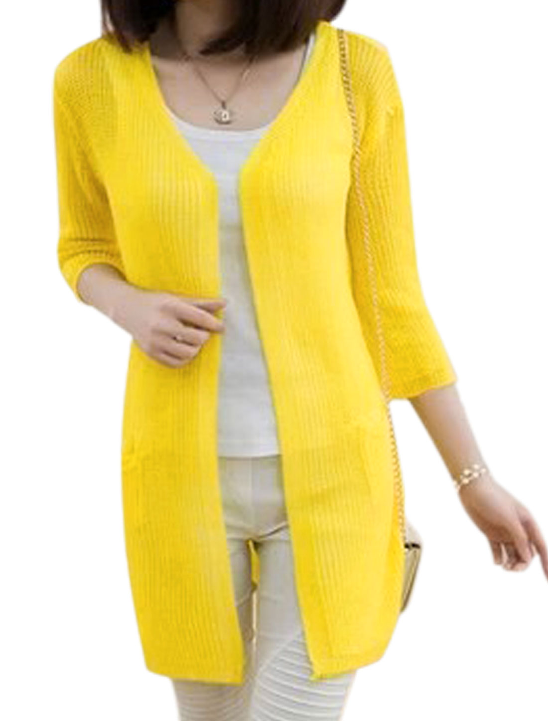 Women Half Sleeves V Neckline Tunic Knit Cardigan Yellow XS