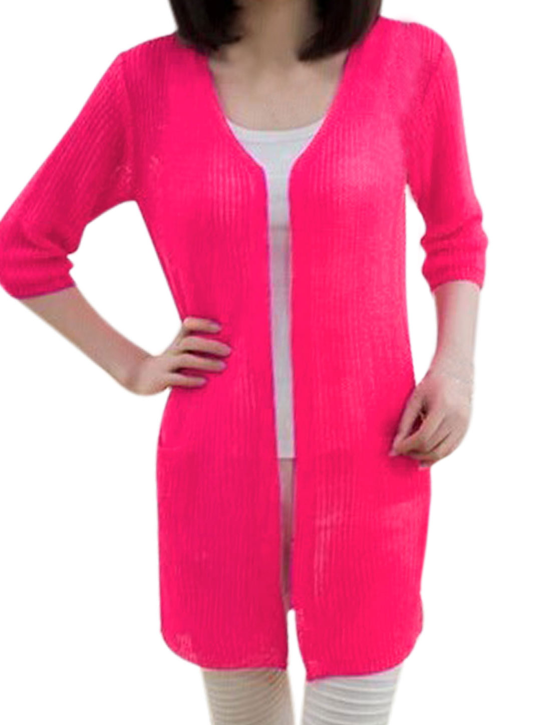 Ladies Front Opening Two Pocket Fuchsia Tunic Knit Cardigan XS