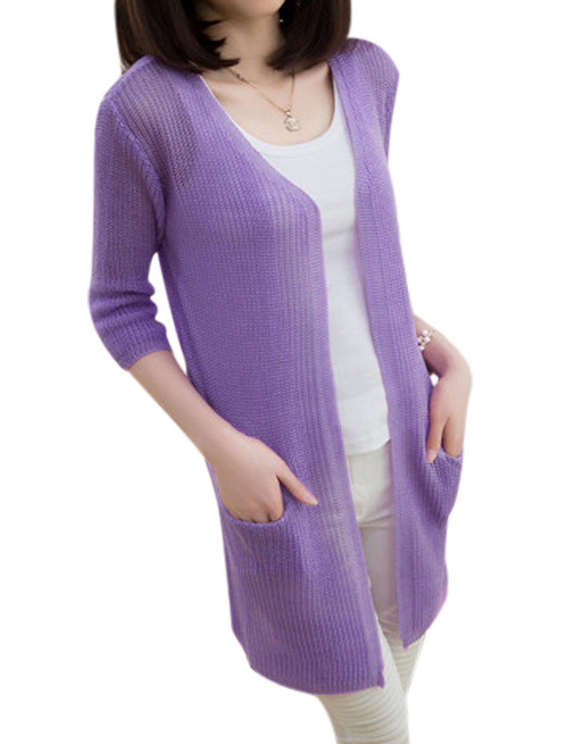 Lady 1/2 Sleeves Thin V Neckline Violet Tunic Knit Cardigan XS