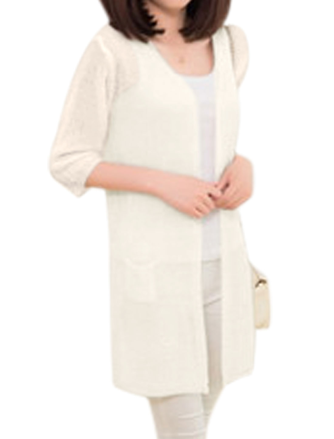 Two Pocket Opening Front Beige Tunic Knit Cardigan for Lady XS