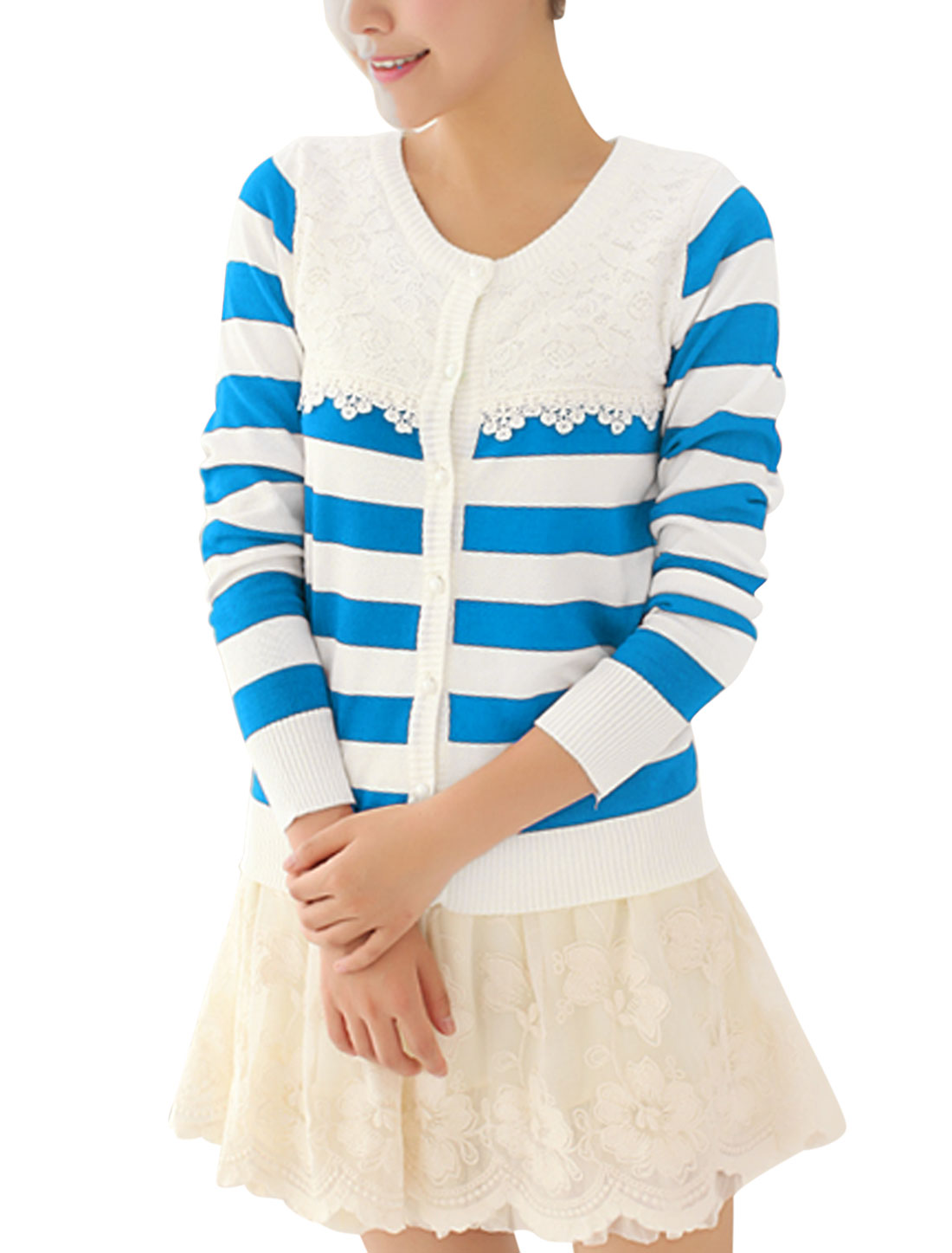 Lady Stripes Pattern Single Breasted Slim Fit Knit Shirt Baby Blue White S