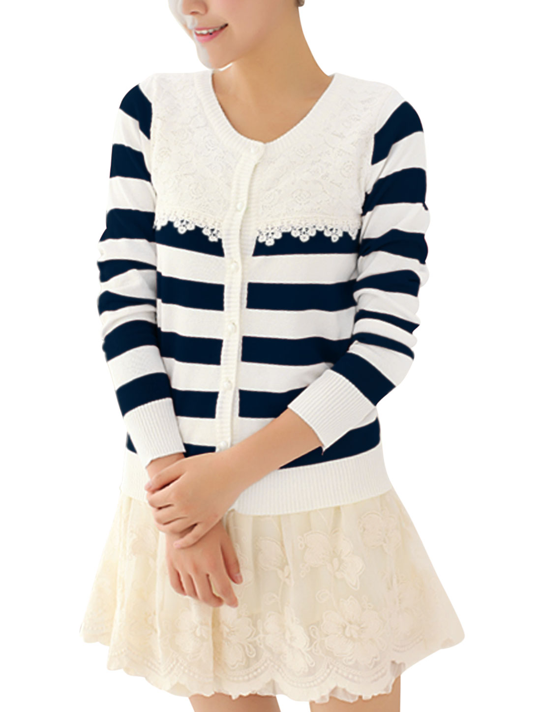 Lady Stripes Pattern Crochet Patchwork Leisure Knit Shirt Navy Blue White S