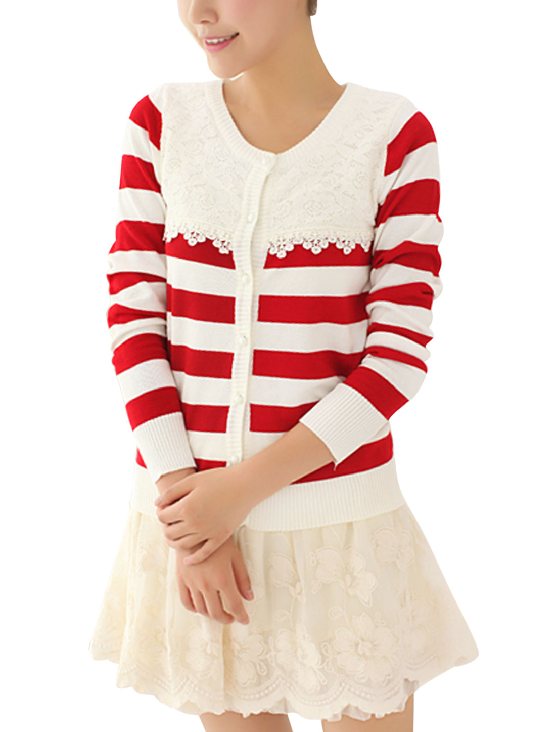 Slim Fit Round Neck Stripes Pattern Casual Knit Shirt for Lady Red White S
