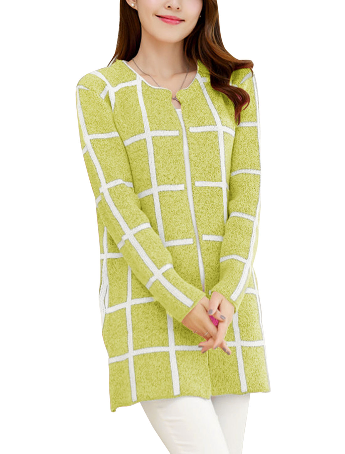 Lady Plaids Long Sleeve Buttonless Tunic Leisure Cardigan Lime S