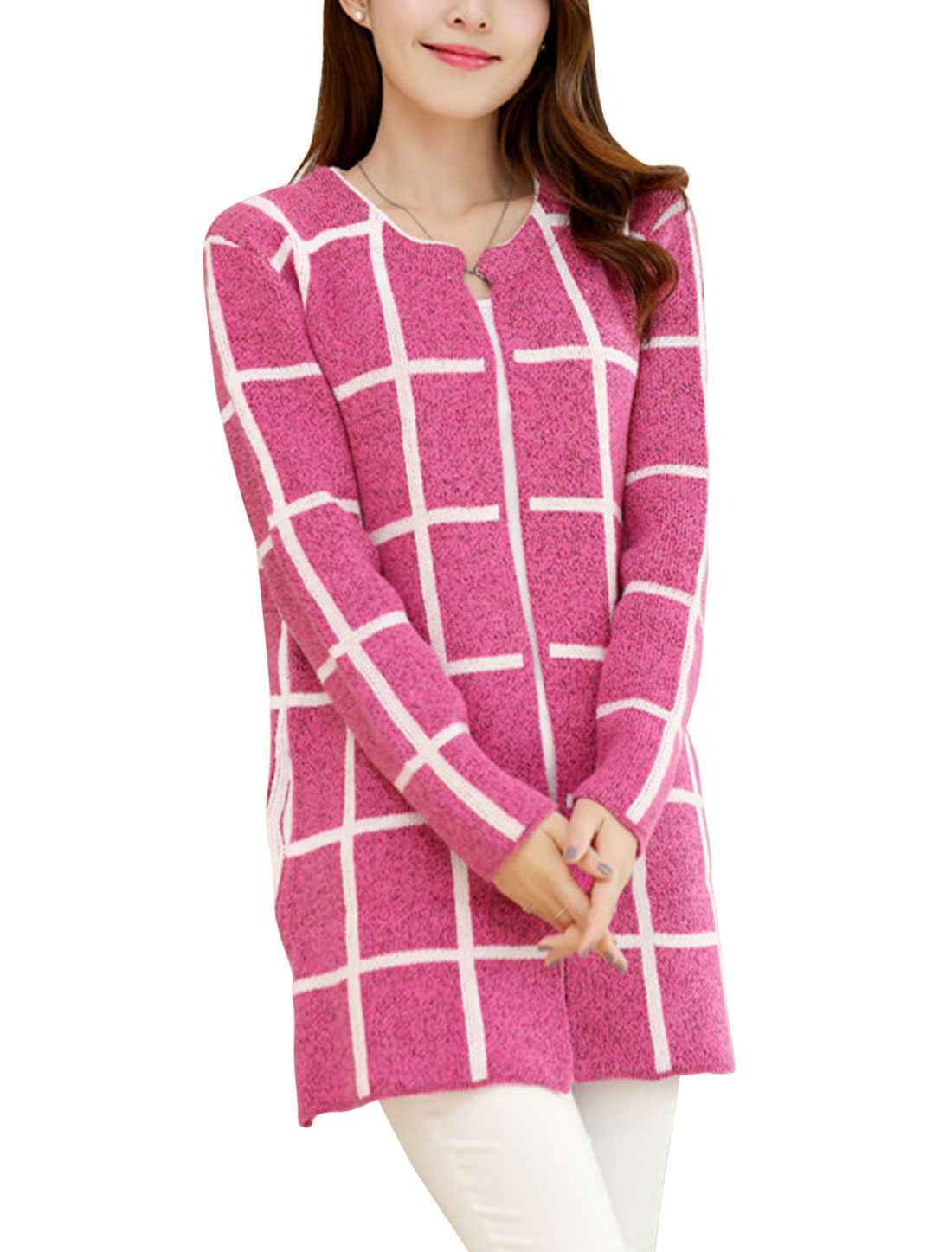 Ladies Front Opening Plaids Stretchy Tunic Leisure Cardigan Fuchsia S