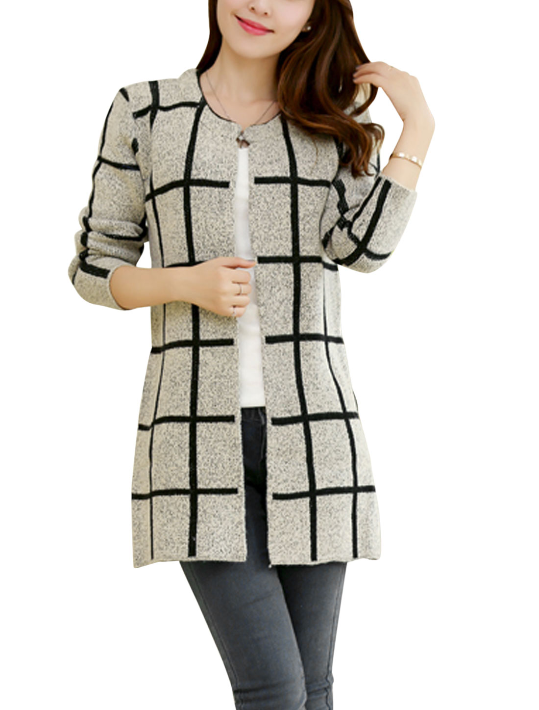 Women Pockets Side Checks Open Front Fashion Autumn Cardigan Light Gray S