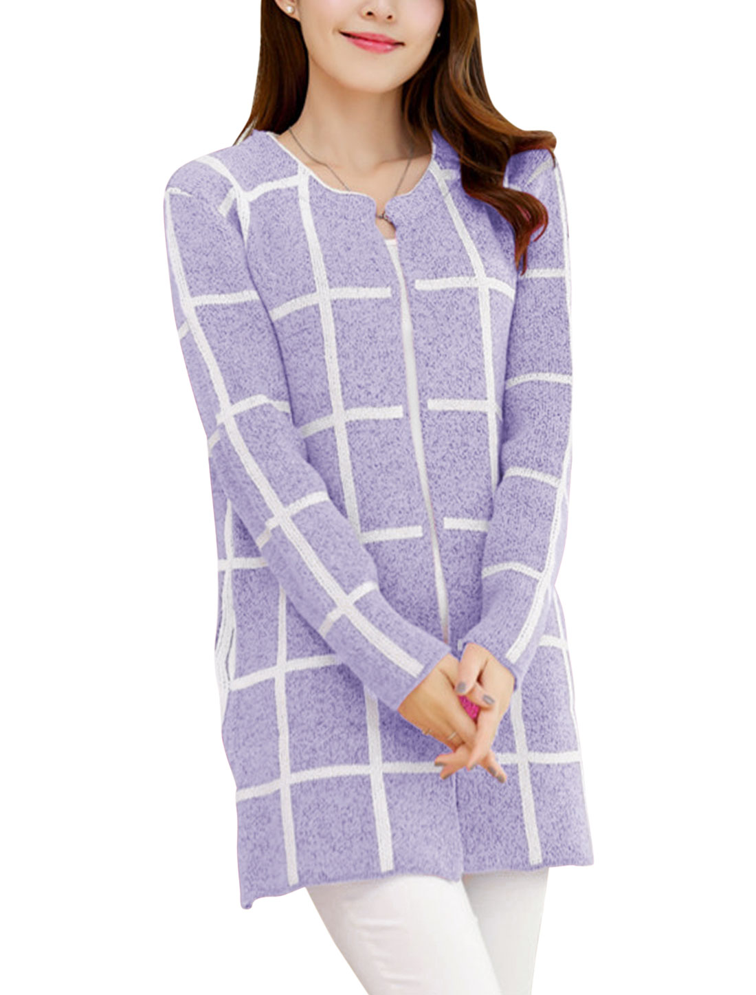 Ladies Round Neckline Buttonless Stretchy Open Cardigan Violet S