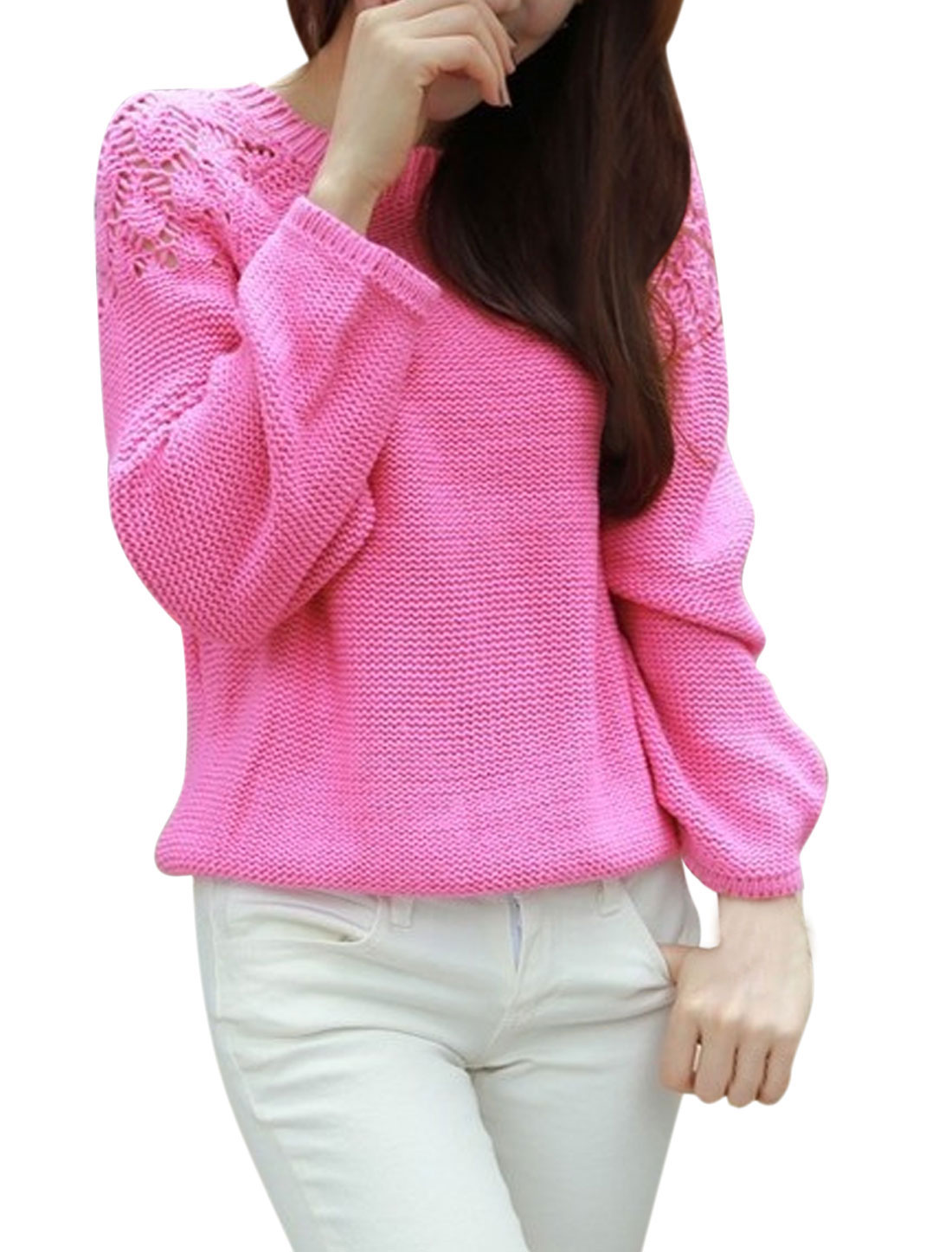 Lady Raglan Sleeve Crochet Hollow Out Detail Casual Sweater Fuchsia XS