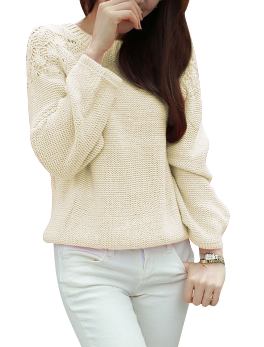 Lady Pullover Self Tie Bow Back Leisure Sweater Beige XS