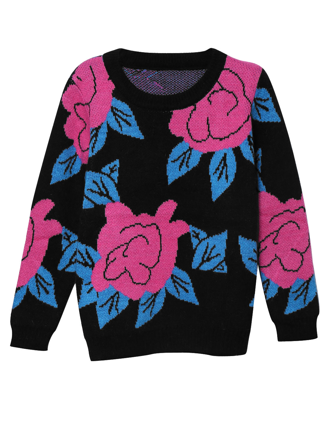 Women Floral Pattern Round Neck Long Sleeve Ribbed Trim Sweater Black XS