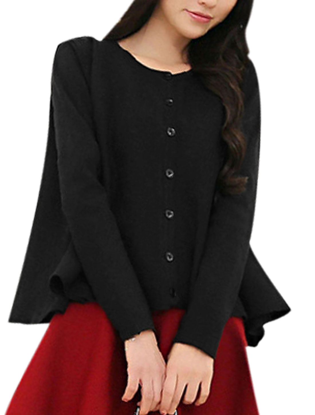 Women Round Neck Long Sleeves Button Up Loose Knit Shirt Black S