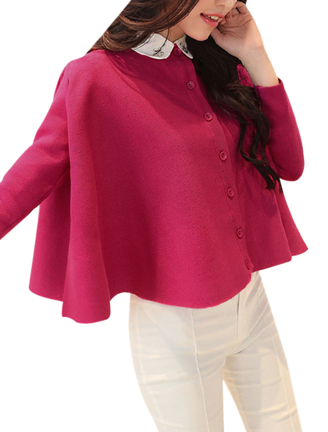 Ladies Single Breasted Front Round Hem Fuchsia Knit Shirt S