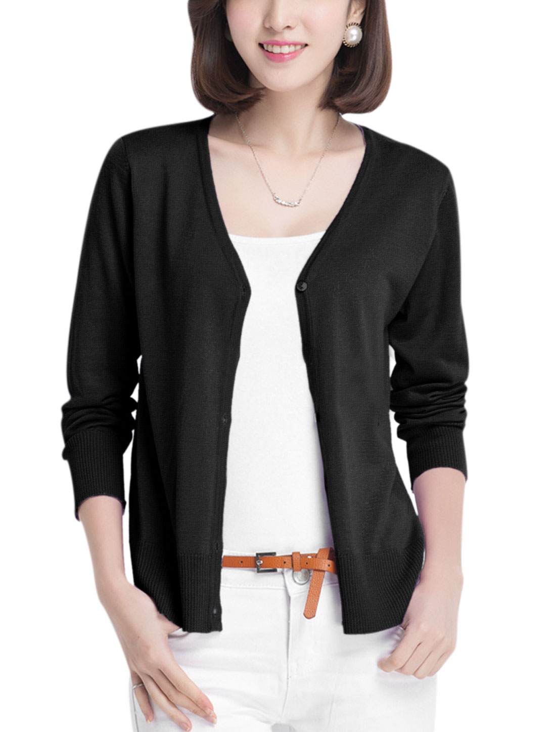 Lady V Neck Single Breasted Fashionable Casual Knit Cardigan Black S