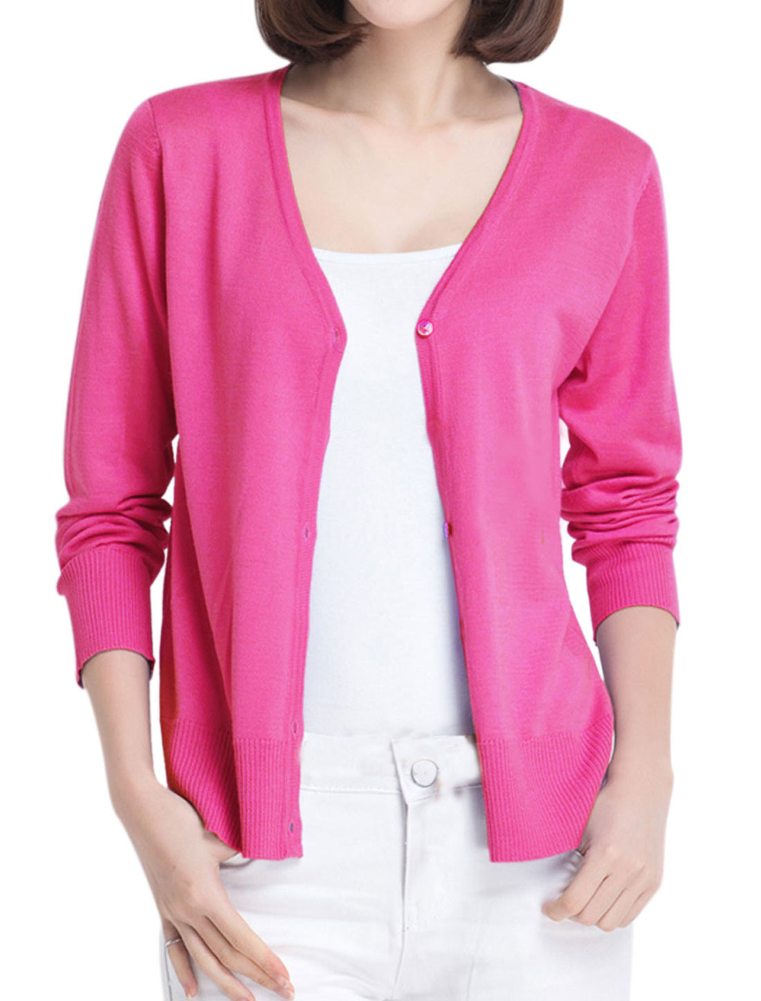 Lady V Neck Ribbed Cuff w Hem Cozy Fit Knit Cardigan Fuchsia S