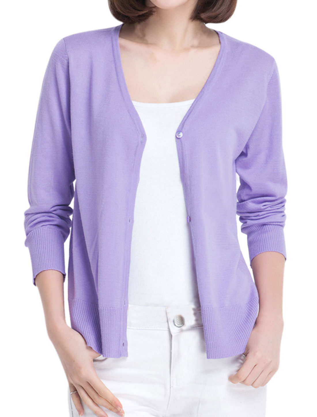 Lady Button Closure Front Stylish Casual Knit Cardigan Lavender S