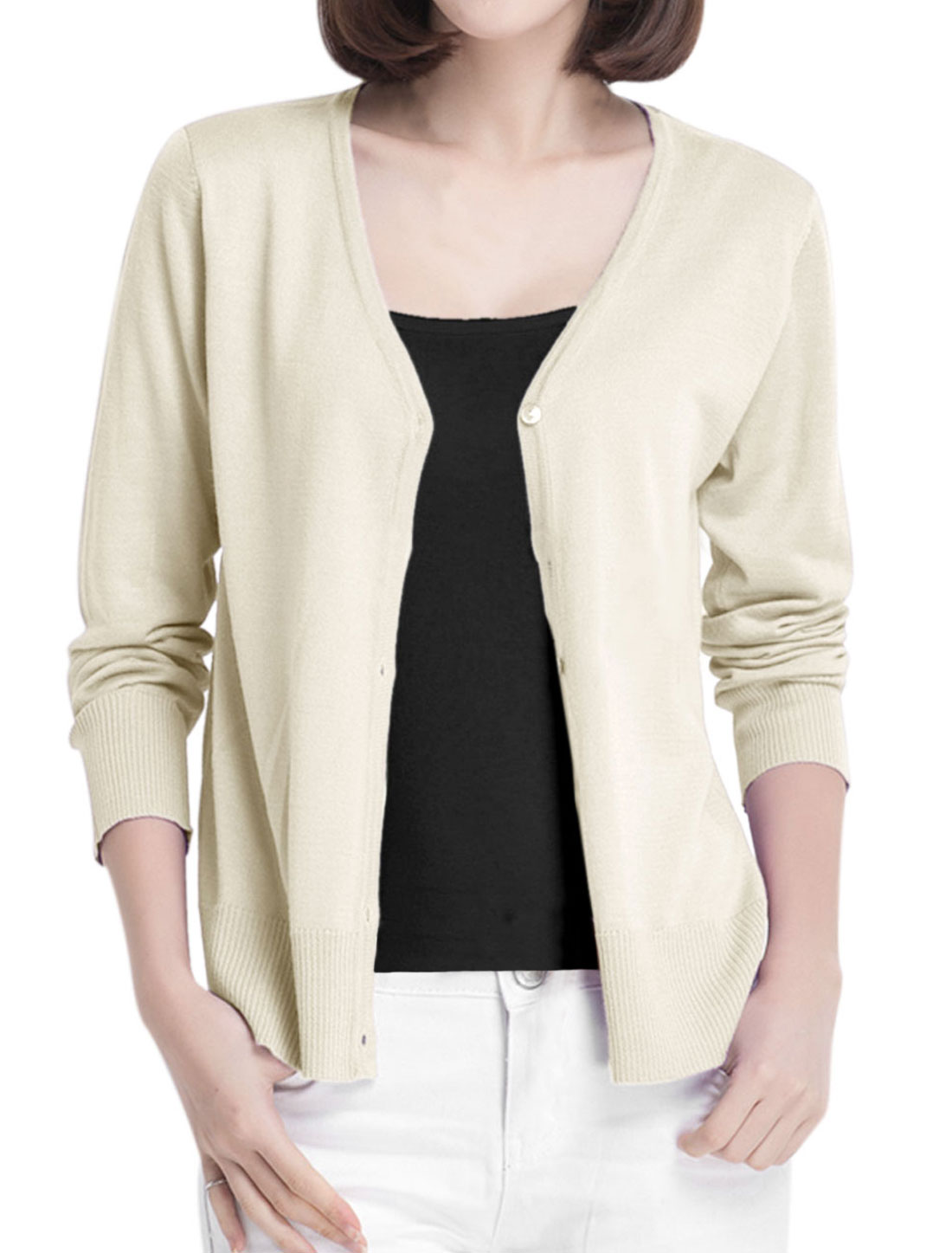 Cozy Fit Soft Fashion Button Closure Front Knit Cardigan for Lady Beige S