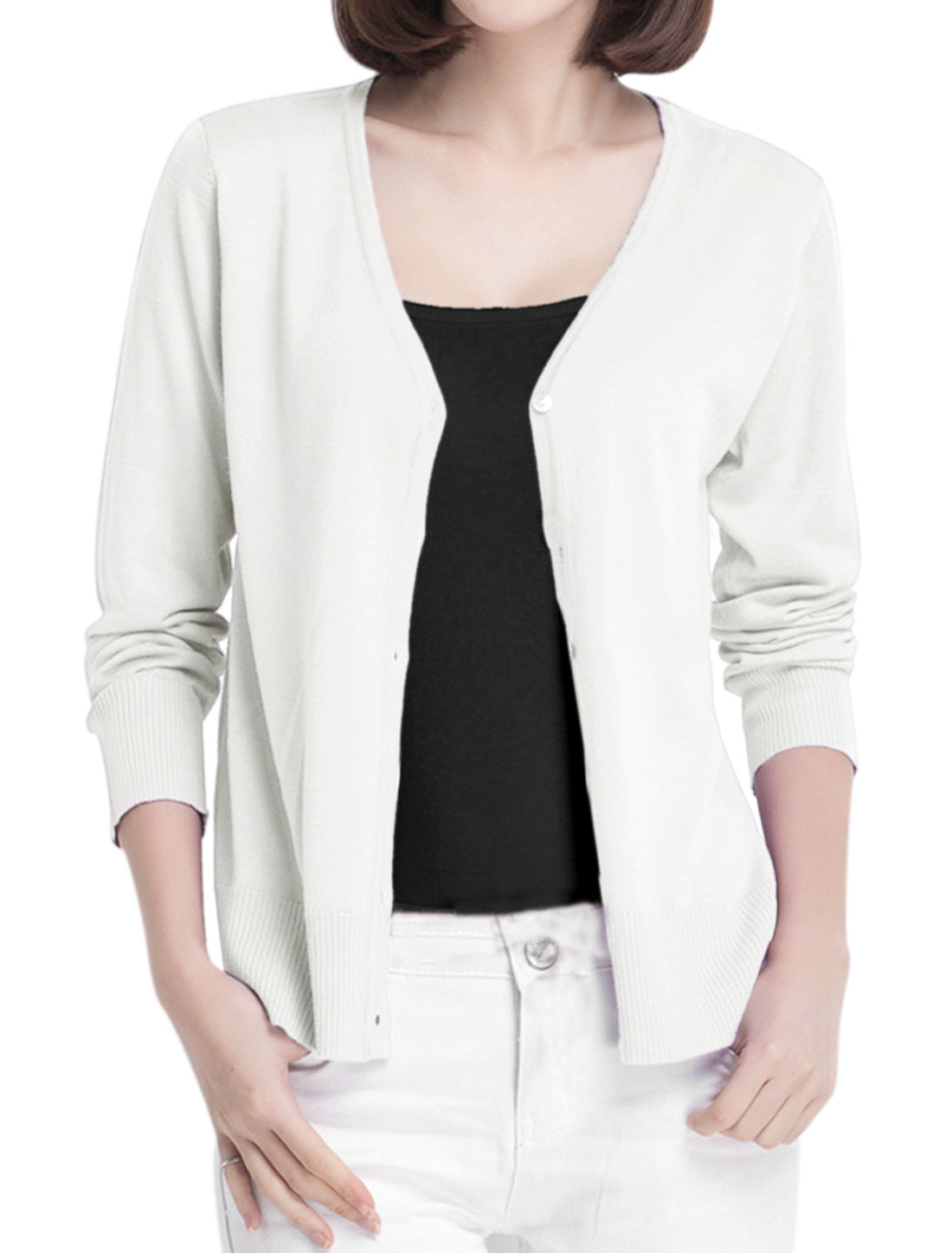 New Style Leisure V Neck Ribbed Cuff w Hem Knit Cardigan for Lady White S