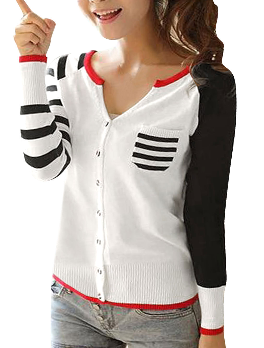 Lady Split Neck Stripes Detail Color Block Cozy Fit Cardigan Black White S