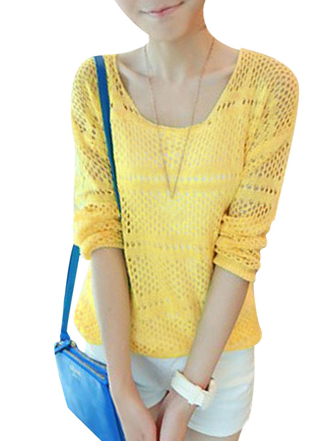 Lady Round Neck Hollow Out Design Soft Casual Knit Top Yellow S