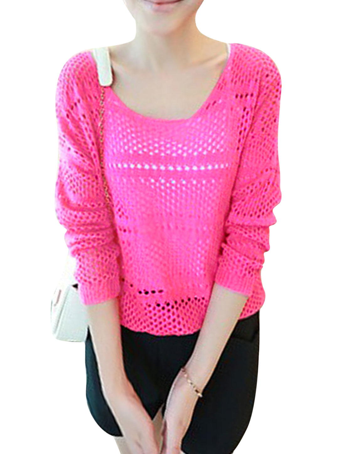 Lady Round Neck Pullover Elastic Hem Leisure Knit Top Fuchsia S