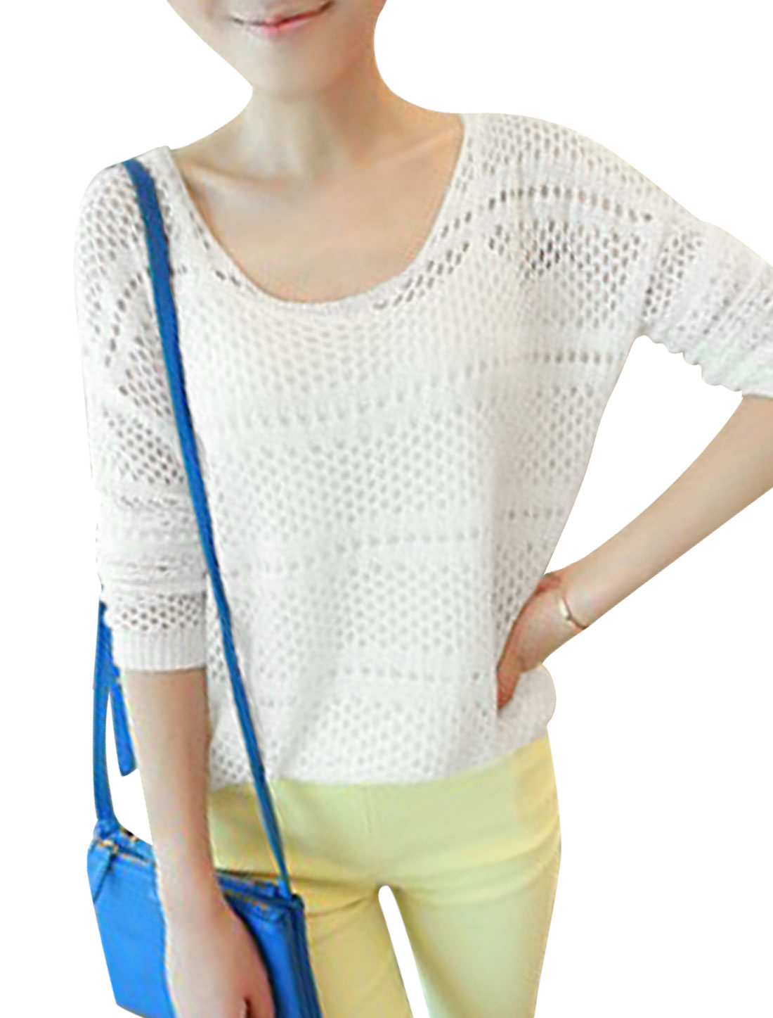 Lady Hollow Out Design Fashionable Casual Knit Top White S