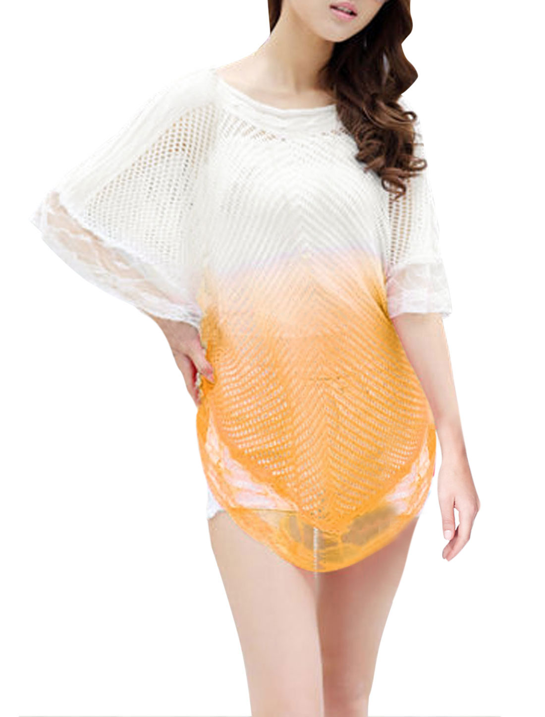 Lady Batwing Sleeve Color Block Fashion Casual Knit Poncho Yellow White XS