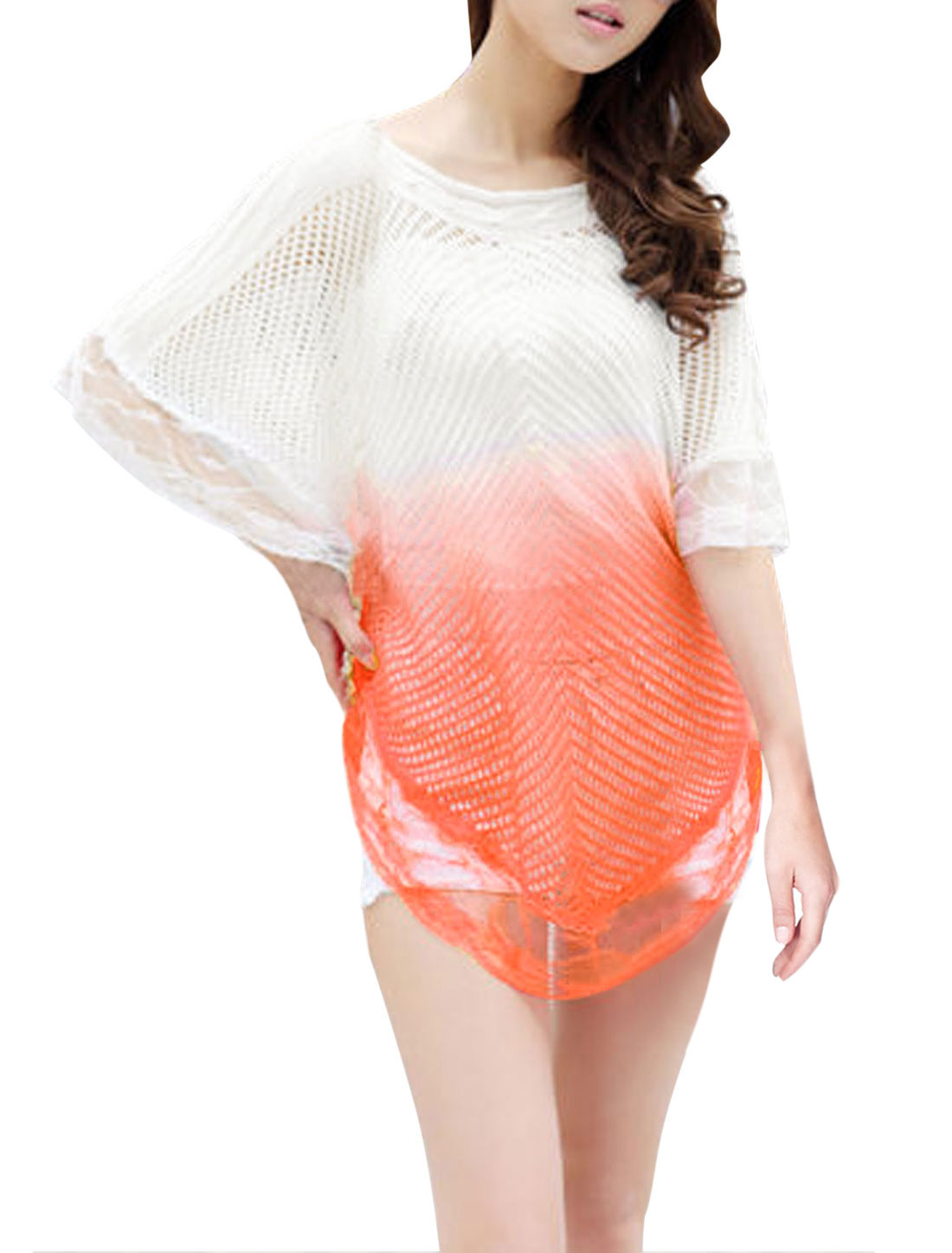 Lady Batwing Sleeve Lace Panel Hem Cozy Fit Soft Knit Poncho Orange White XS