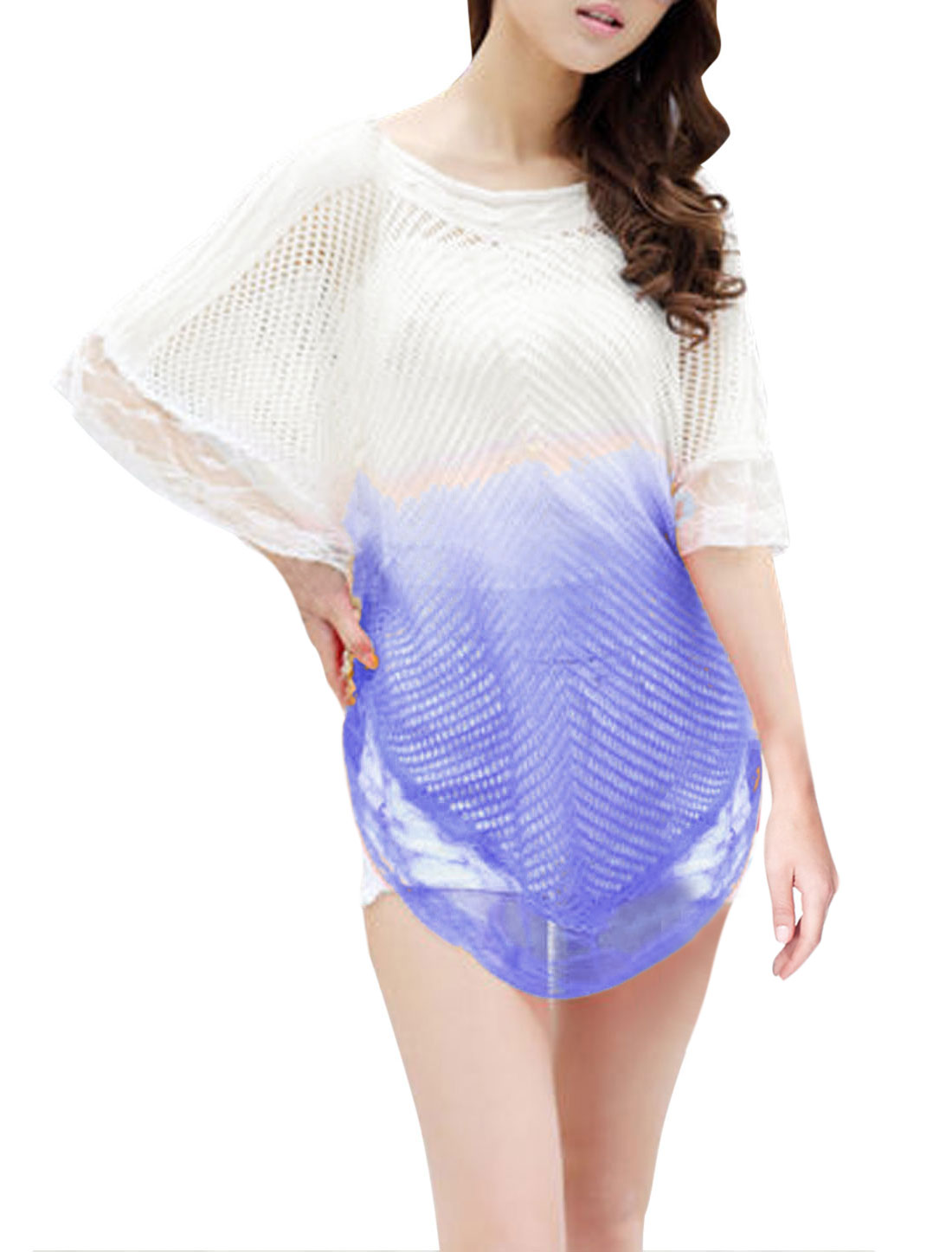 New Style Pullover Color Block Casual Knit Poncho for Lady Lavender White XS