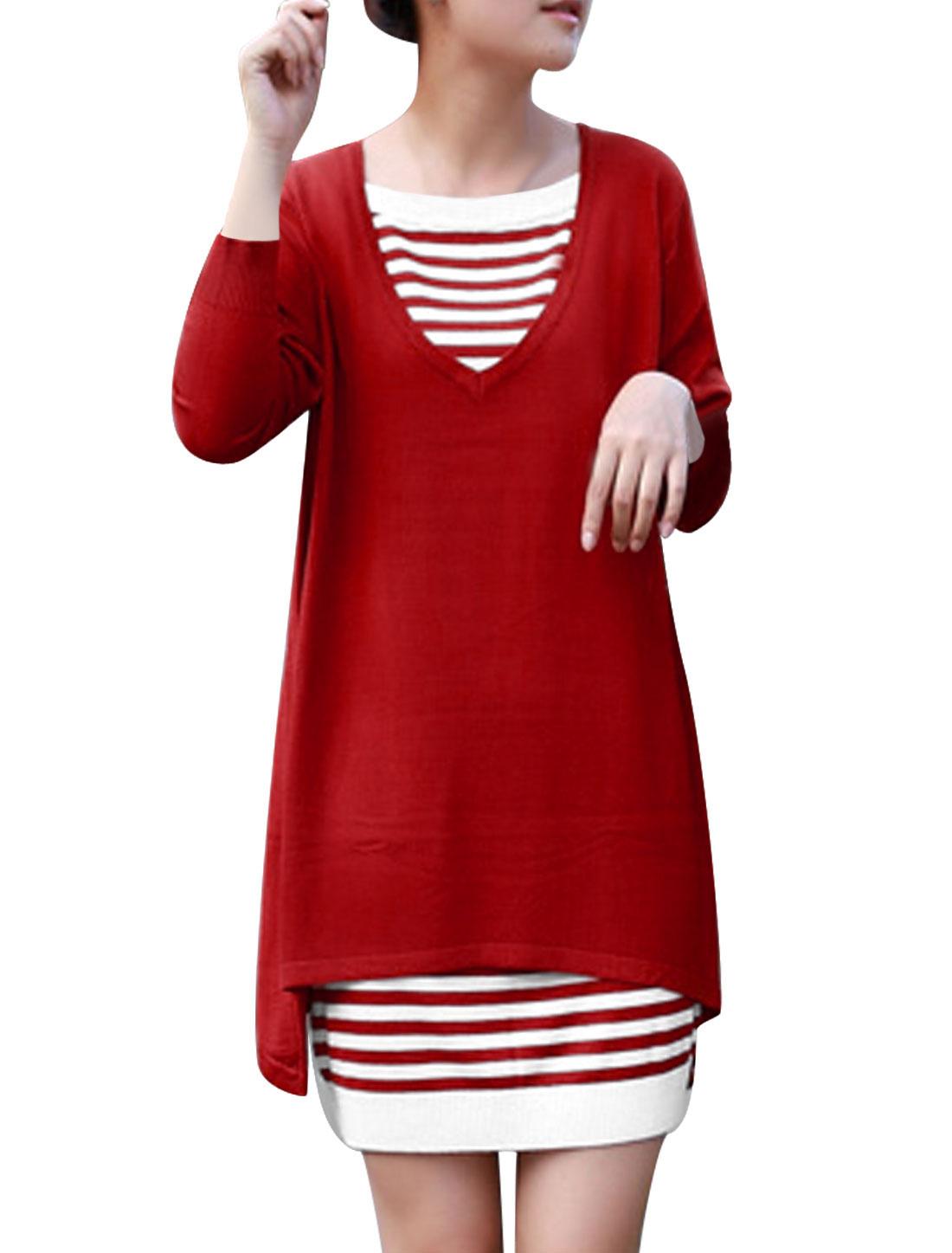 Women V Neck Split Back Top w Sleeveless Stripes Knit Dress Set Red White XS