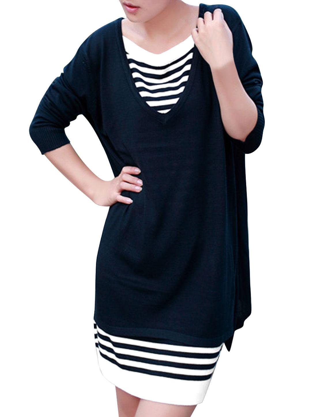 Women Vent Back Slipover Top w Sleeveless Knit Dress Navy Blue White XS