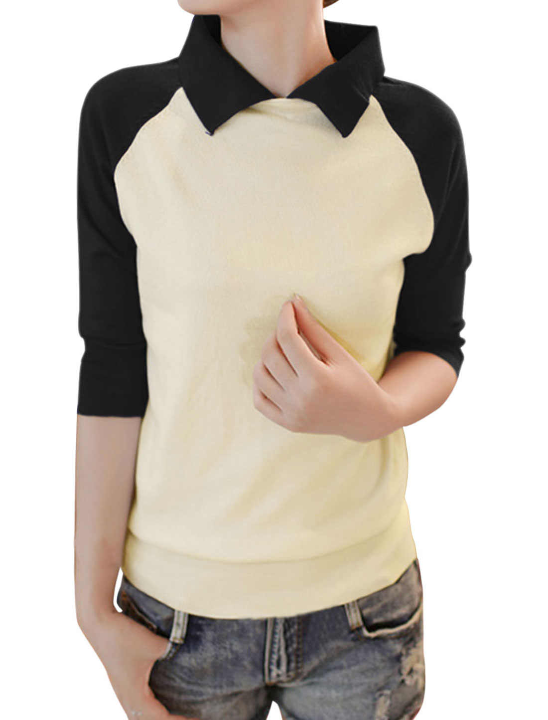 Women Raglan Sleeve Color Block Ribbed Hem Casual Knit Shirt Black Beige XS