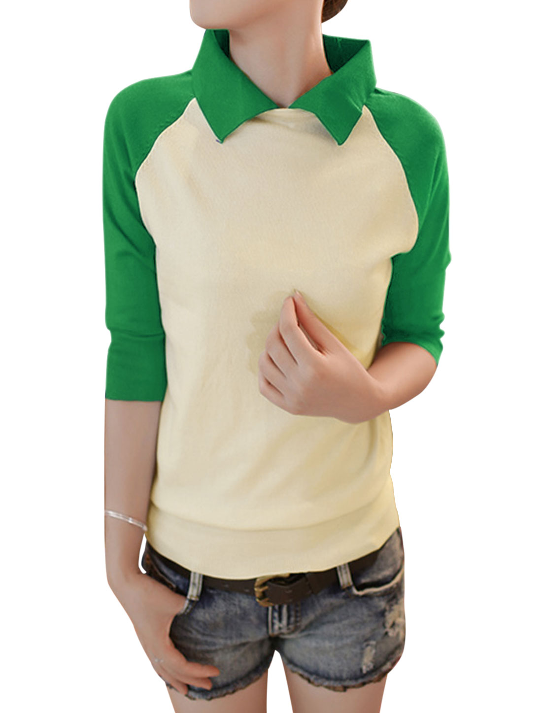 Lady Pullover Raglan Sleeve Color Block Knit Shirt Green Beige XS