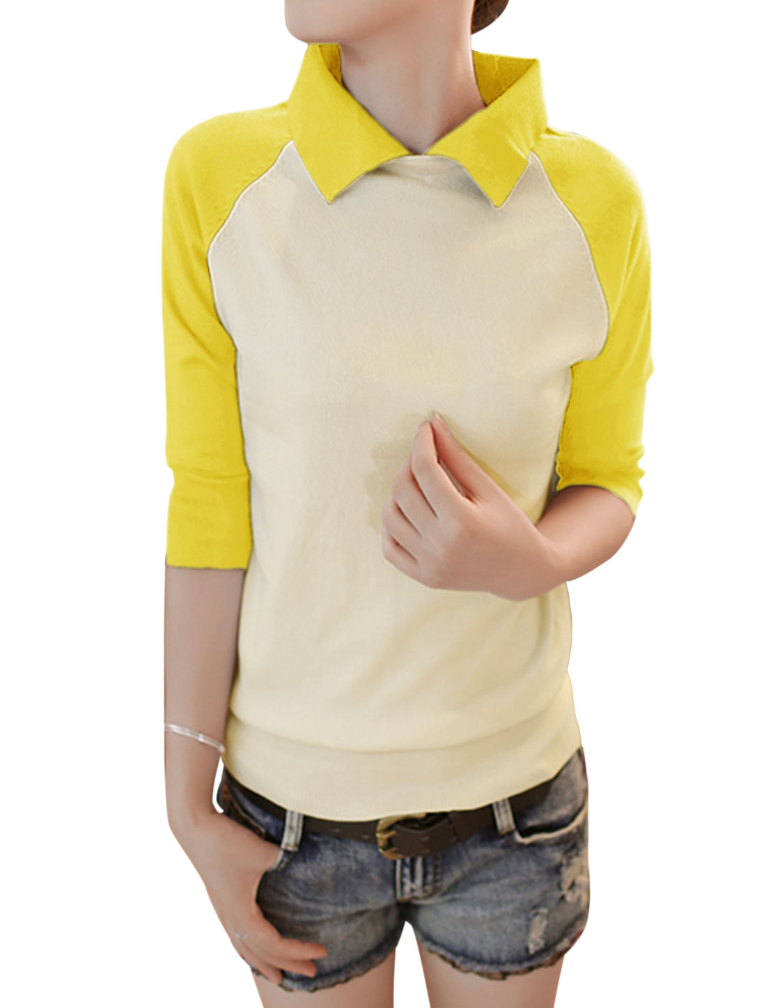 Women Color Block Slipover Raglan Sleeve Knit Shirt Yellow Beige XS