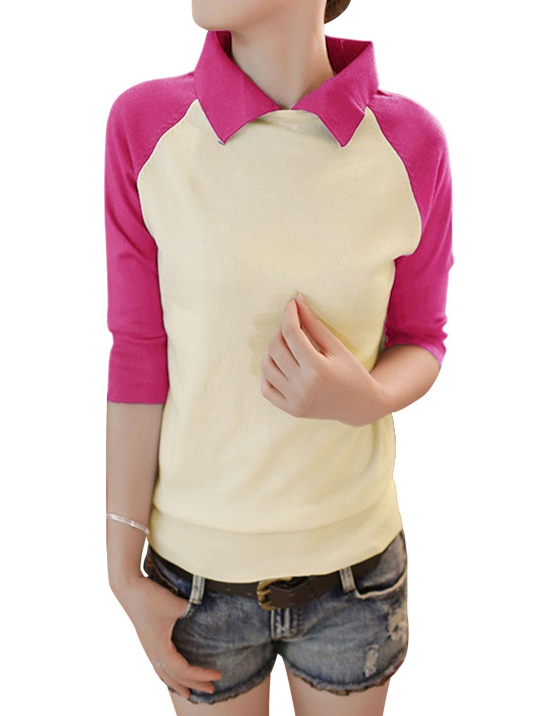 Women Contrast Color Ribbed Hem Slipover Knit Shirt Fuchsia XS