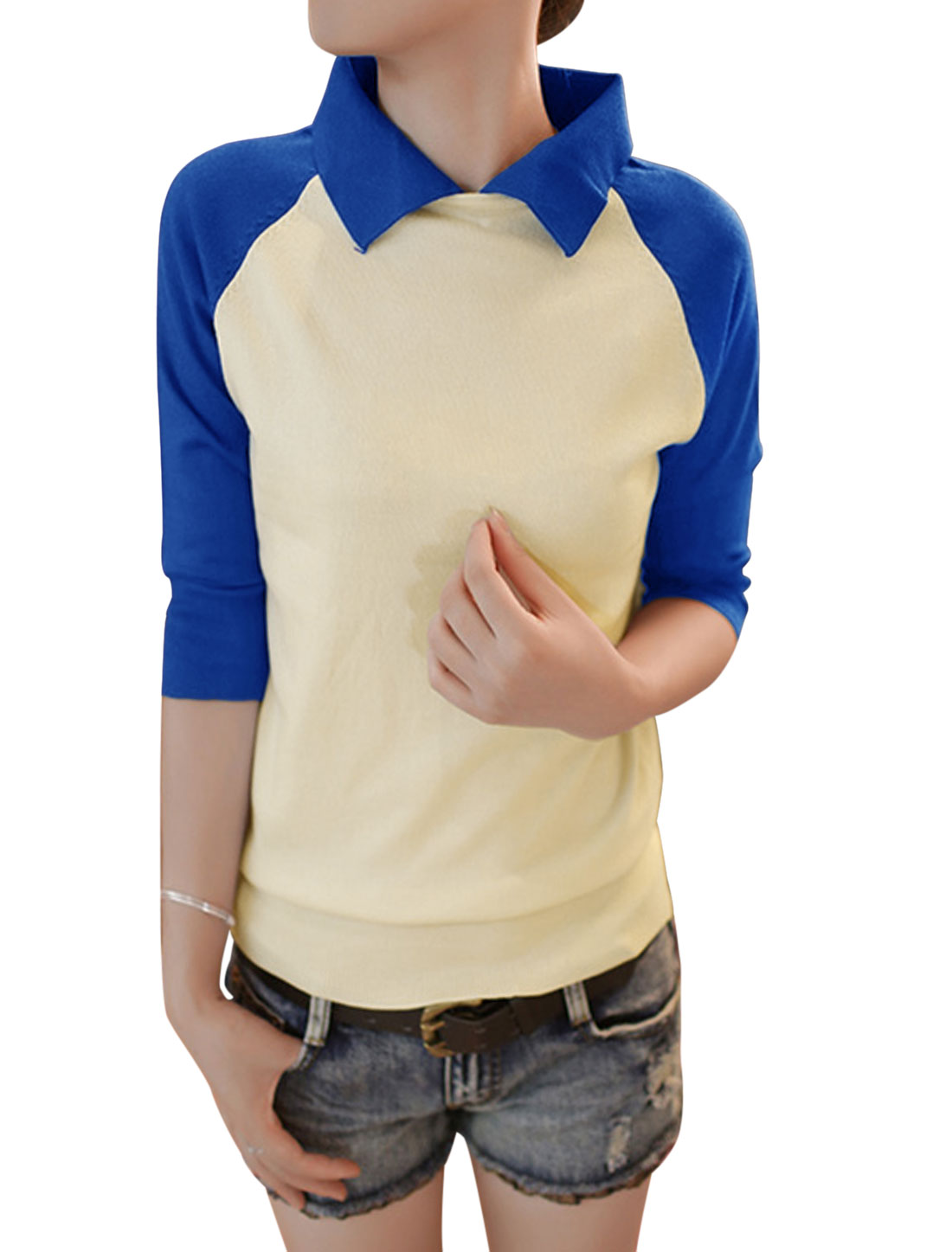 Lady Elegant Style Color Block Raglan Sleeve Knit Shirt Royal Blue XS