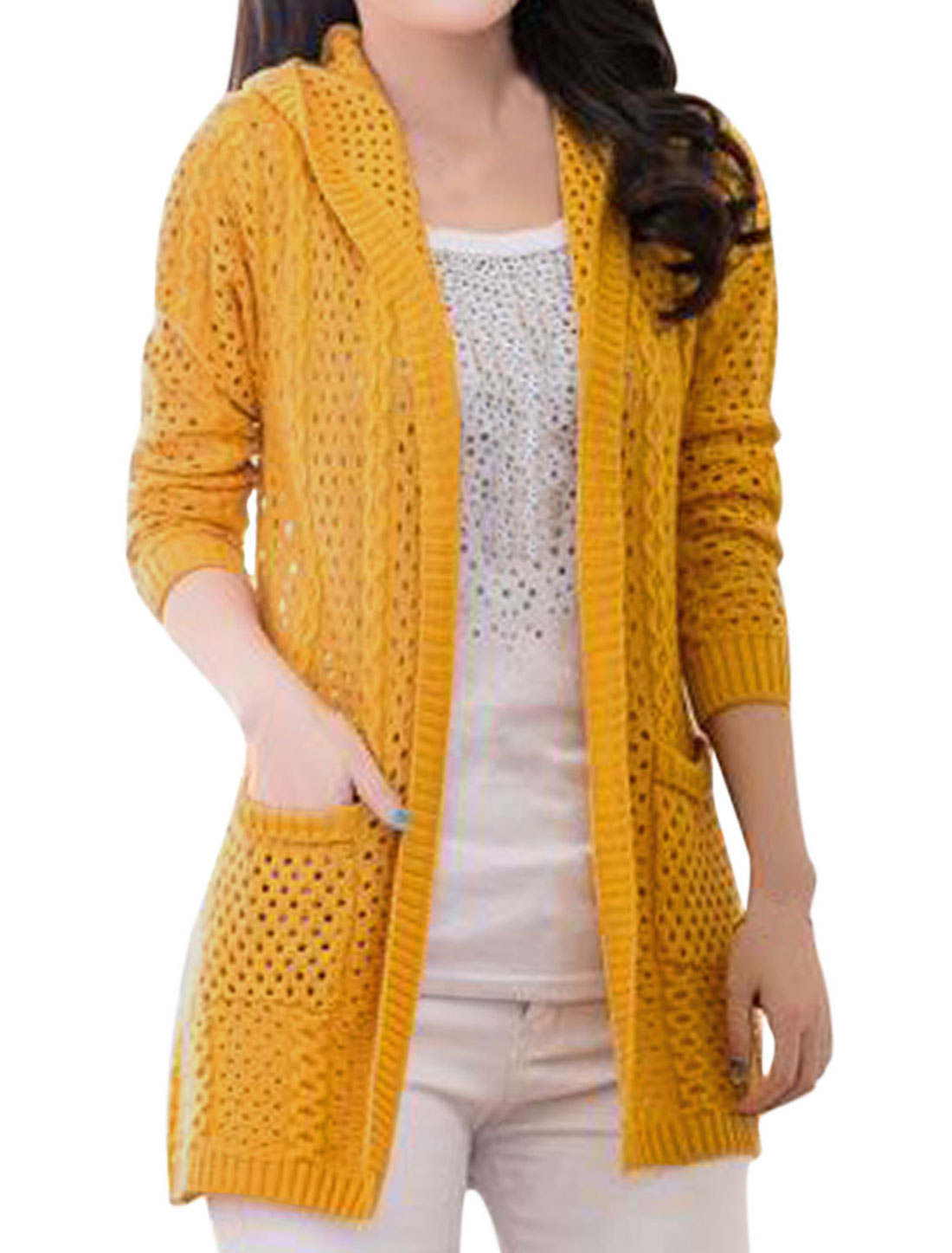 Lady Hooded Buttonless Hollow-out Casual Cardigan Orange S
