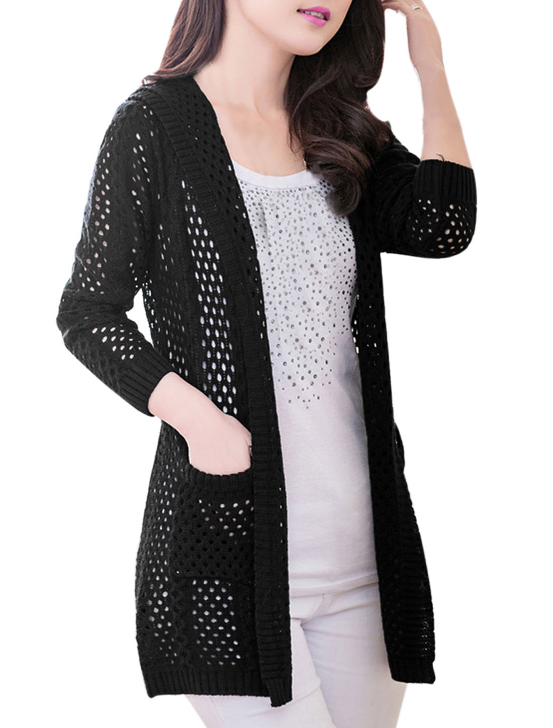Ladies Front Pockets Hollow-out Long Sleeve Casual Cardigan Black S