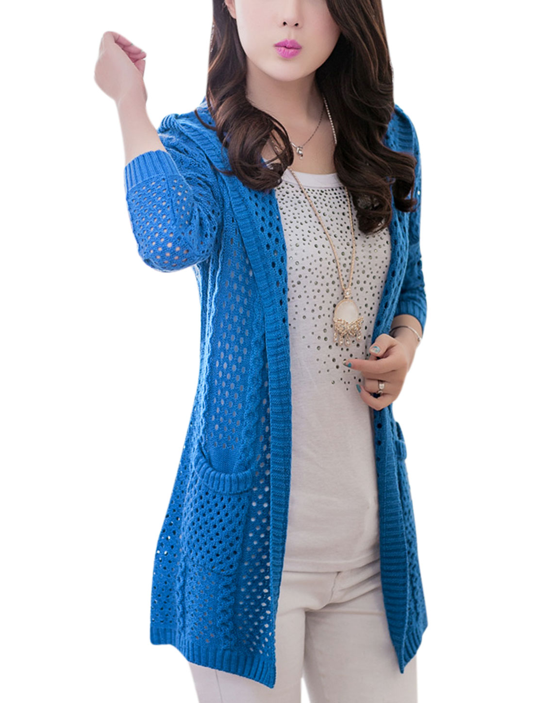 Women Ribbed Trim Front Pockets Hooded Leisure Cardigan Blue S